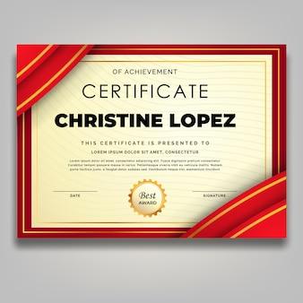 Modello di certificato di lusso cornice dorata ornamento rosso