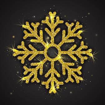 Fiocco di neve astratto scintillante dorato di lusso con glitter luccicanti su sfondo nero