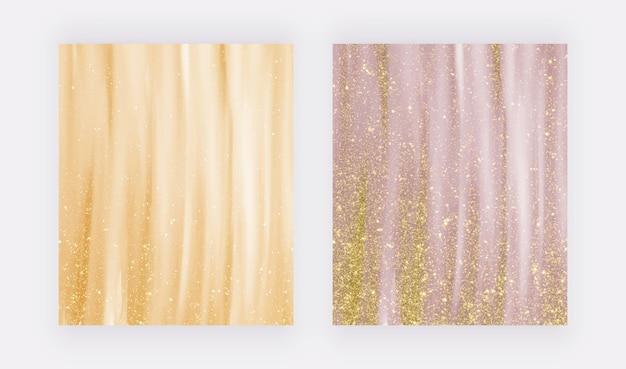 Acquerello dorato di lusso con texture glitter