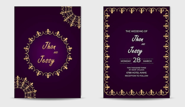 Modello di invito a nozze d'oro di lusso