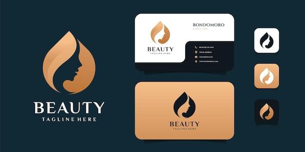 Modello di progettazione di logo e biglietto da visita della donna di bellezza di lusso sfumato. Vettore Premium
