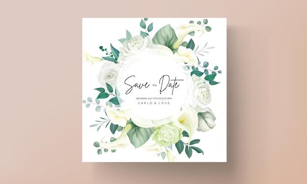 Carta di invito a nozze fiore di giglio verde di lusso e rosa