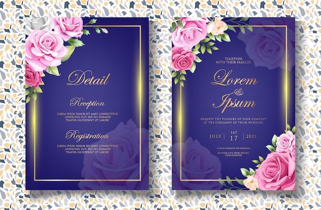 Carta di invito matrimonio floreale disegno a mano di lusso