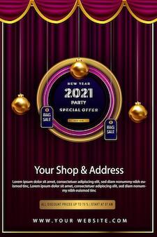 Offerta speciale di lusso felice anno nuovo 2021 sconto fino al poster