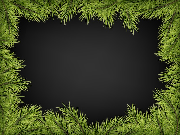Cornice di poster di invito di lusso di rami di pino, abete, abete rosso per una festa di natale su uno sfondo nero.