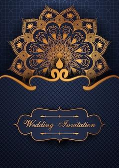 Sfondo di mandala di nozze invito di lusso Vettore Premium