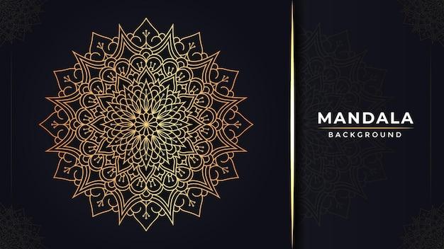 Design di sfondo di mandala decorativo islamico di lusso con colore dorato