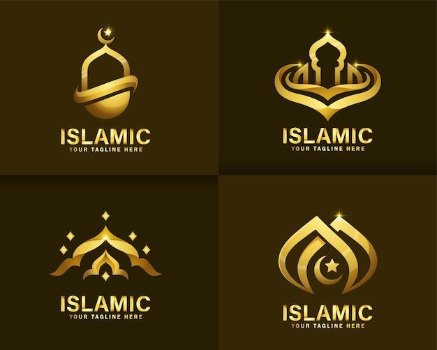 Logo islamico di lusso. modello di progettazione di logo della moschea d'oro