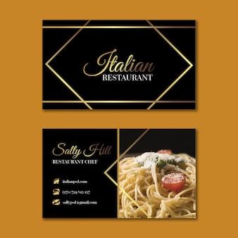 Modello di biglietto da visita orizzontale di cibo italiano di lusso