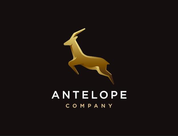 Modello di logo di lusso che salta antilope