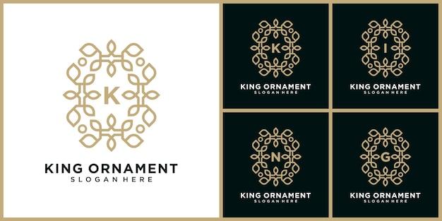 Marchio della lettera k di lusso. logo con ornamento floreale rotondo
