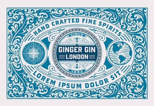 Etichetta di lusso per l'imballaggio di liquori gin con ornamenti vintage