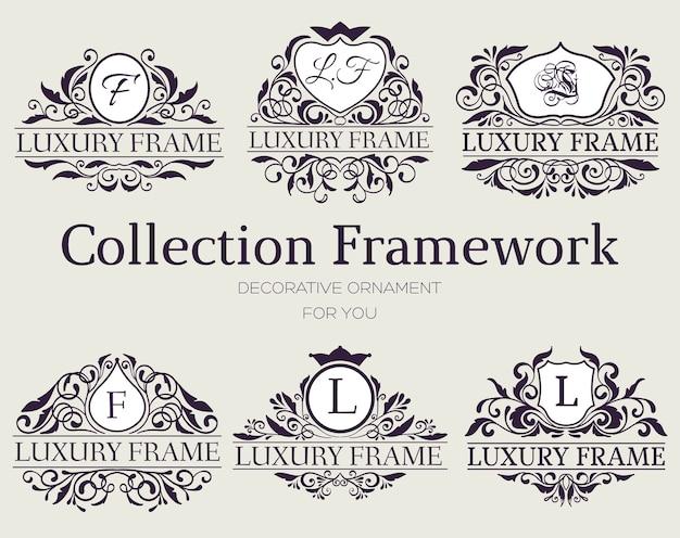 Etichetta di lusso o elemento simbolo del re posto con set di oggetti di calligrafia decorativa