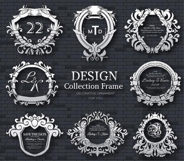 Etichetta di lusso o elemento simbolo del re posto con set di oggetti di calligrafia decorativa.
