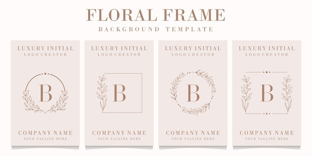 Design del logo lettera b di lusso con modello di cornice floreale