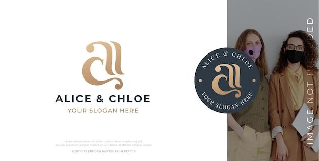 Lettera di lusso ac monogramma serif logo design