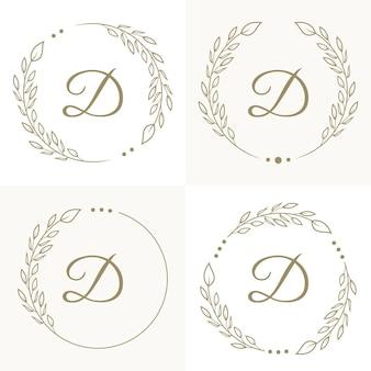 Design di lusso lettera d logo con modello di sfondo cornice floreale