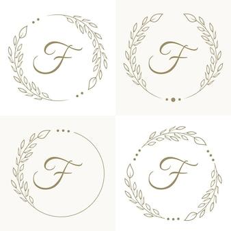 Design del logo lettera f di lusso con modello di sfondo cornice floreale