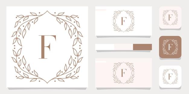 Design del logo lettera f di lusso con modello di cornice floreale, design biglietto da visita