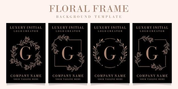Lettera di lusso g logo design con modello di sfondo cornice floreale