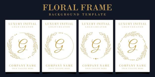 Lettera di lusso g logo design con cornice floreale