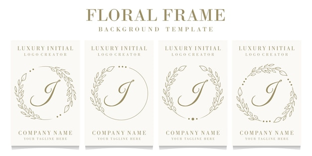 Lettera di lusso j logo design con modello di sfondo cornice floreale
