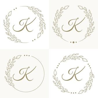 Design di lusso lettera k logo con modello di sfondo cornice floreale