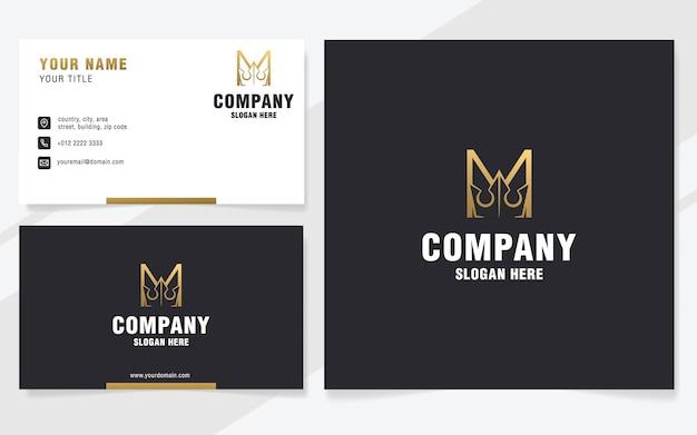 Lettera di lusso m con modello di logo astratto corona