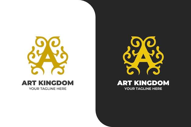 Logo di ornamento lettera a di lusso