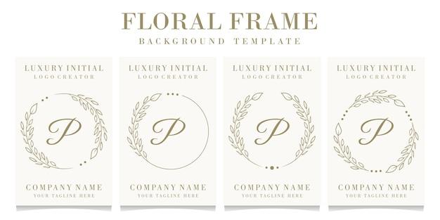 Design di lusso lettera p logo con modello di sfondo cornice floreale