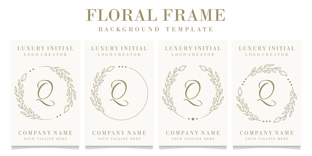 Lettera di lusso q logo design con modello di sfondo cornice floreale