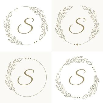 Design di lusso lettera s logo con modello di sfondo cornice floreale