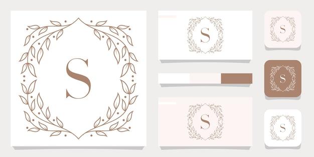 Lettera di lusso s logo design con modello di cornice floreale, design biglietto da visita