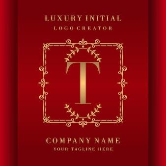 Design di lusso monogramma logo iniziale lettera t.