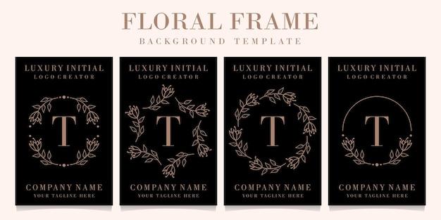 Lettera di lusso t logo design con modello di sfondo cornice floreale