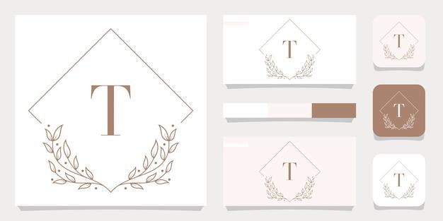 Lettera di lusso t logo design con modello di cornice floreale, design biglietto da visita