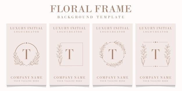 Lettera di lusso t logo design con modello di cornice floreale