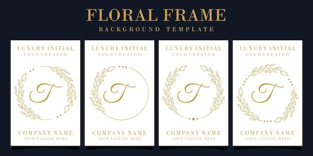 Design di lusso lettera t logo con cornice floreale