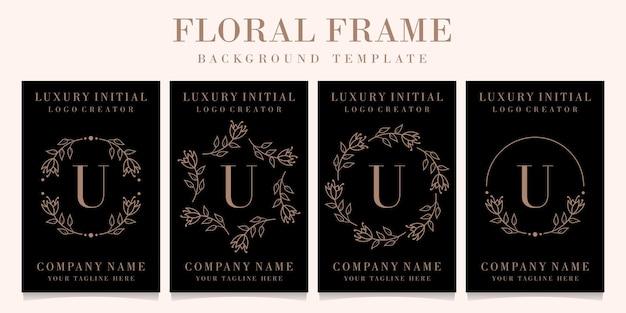Lettera di lusso u logo design con modello di sfondo cornice floreale