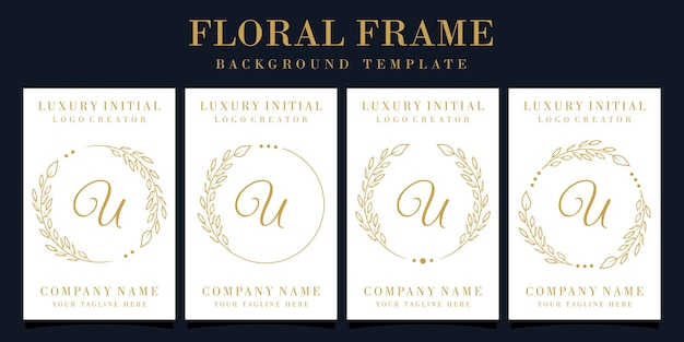 Lettera di lusso u logo design con cornice floreale