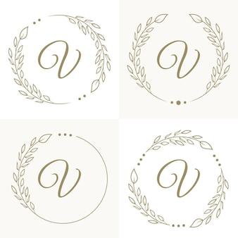 Design di lusso lettera v logo con modello di sfondo cornice floreale