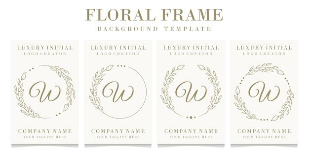 Lettera di lusso w logo design con modello di sfondo cornice floreale