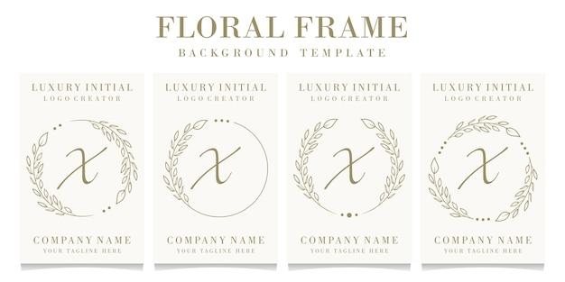 Design di lusso lettera x logo con modello di sfondo cornice floreale