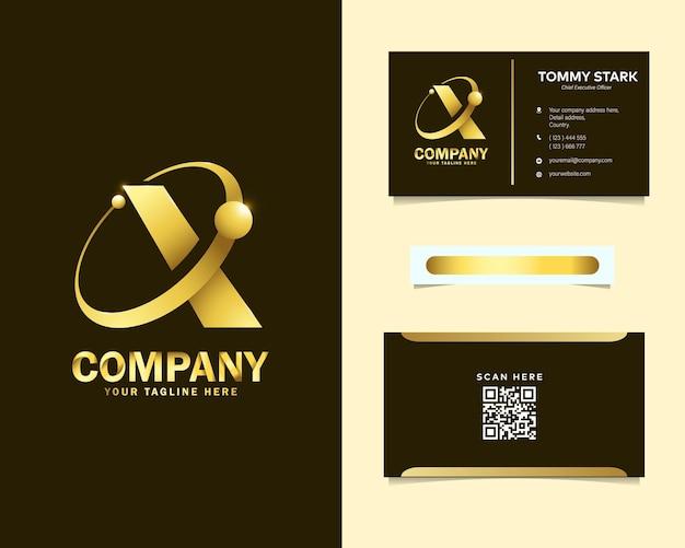 Logo di lusso lettera x orbita con modello di biglietto da visita di cancelleria