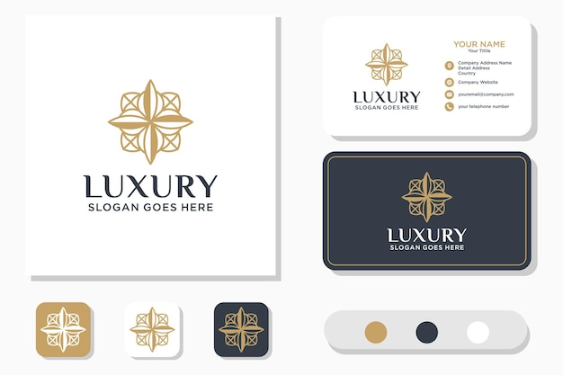 Luxury line art beauty flower logo design e biglietto da visita