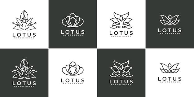 Collezione di logo di lusso linea arte fiore rosa
