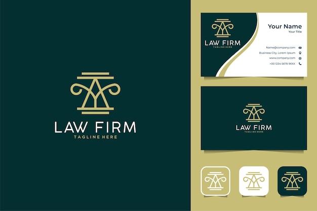 Design del logo dello studio legale di arte di lusso e biglietto da visita