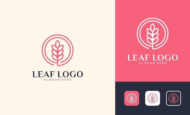 Linea di lusso arte foglia cerchio logo design