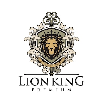 Modello di logo di lusso re leone