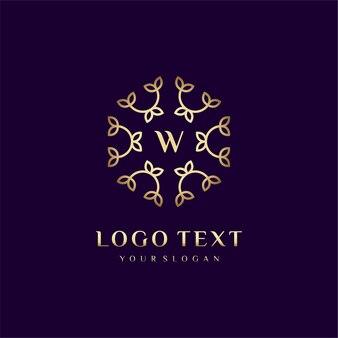 Luxury logo concept design letter (w) per il tuo marchio con decorazione floreale
